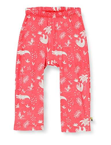 Loud + Proud Pant Allover Print Organic Cotton Pantalon, Rose (Azalea Aza), 74/80 Bébé Fille