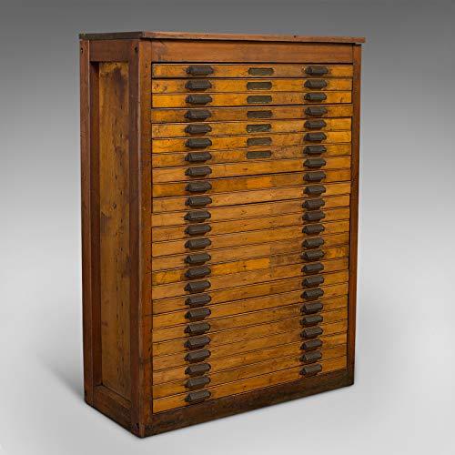 Großer antiker Druckerschrank Industrie Plantruhe Probe Art Vault