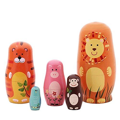 Echodo 5pcs Handmade Animal Nesting Dolls Authentic Russian Wooden Matryoshka Dolls Cute Cartoon...