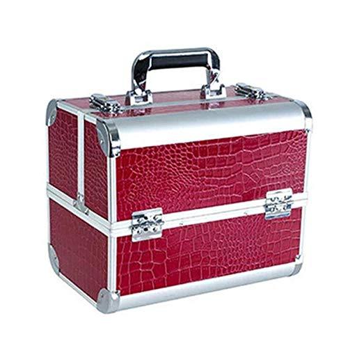 QFERW Cosmetic Case Alliage d'aluminium Cosmetic Case Professional Multilaye Make Up Box Beauté Tatouages Nail Art Outil De Stockage Organisateur, Vin Rouge
