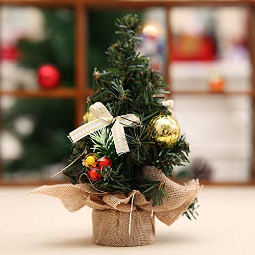 Maxte Desktop Christmas Tree Mini Artificial Christmas Tree with Bows and Ornaments Christmas Decor for Home and Office 8 Inch