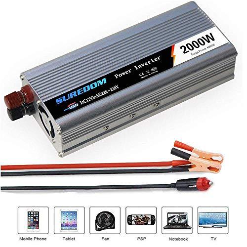Kymzan Reiner Sinus Spannungswandler 500W/800W/1000W/1200W/2000W,Auto Wechselrichter 12v/24v auf 110v/220v - Inverter Konverter mit Steckdose und USB-Port,12vTo110v-2000W