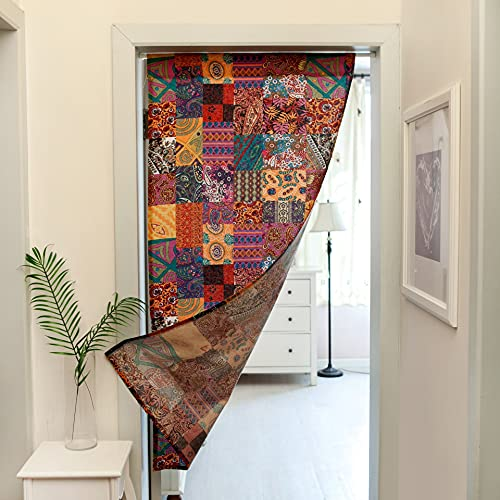 zhengyang Cortina de división de algodón y cáñamo para el norte de Europa cortina de división de tela para inodoro, media cortina de dormitorio sin barra (color: rojo, tamaño: 60 140 cm)
