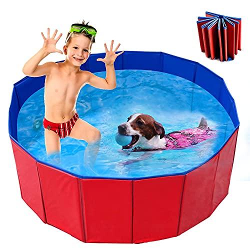 FGen 60 X 20cm Bañera Plegable para Niños/Mascotas, Plegable Piscina de Baño al Aire Libre,Piscina Antideslizante para Perros y Gatos, Piscina para Perros Adecuada para Interiores y Exteriores (S)