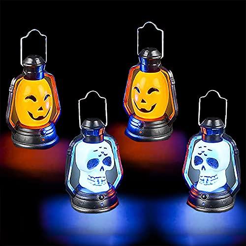 The Dreidel Company Halloween Mini Flashing Lanterns, Halloween Decorative Handheld Lights, Spooky Orange Pumpkin and Skeleton (4-Pack)