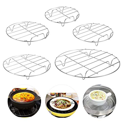 Cooling Rack Wire Baking Steaming Rack,DBAILY 5pcs Steaming Rack Round Stainless Steel Baking Thick Wire Rack for Cooling Cooling Rack Set for Air Fryer Instant Pot Pressure Cooker Canning