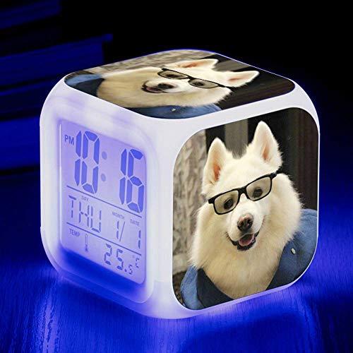 Digitale Alarm Klok, Leuke Dier Hond Kleurrijke Quad Alarm Klok Creatieve Kleine Alarm Klok Student Kinderen Alarm Klok Geschenken 8X8X8cm/ Aantal 11