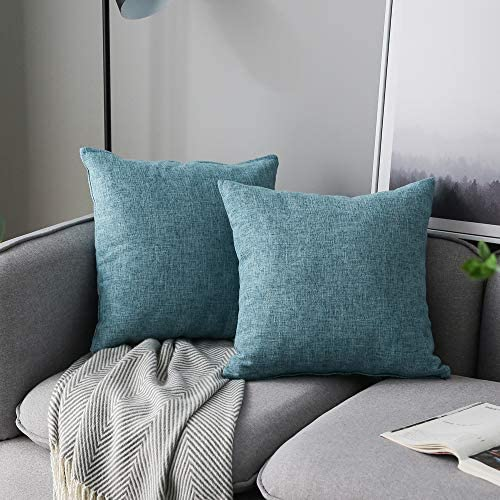 Anickal Set of 2 Light Blue Pillow Covers Cotton Linen Decorative Square Throw Pillow Covers product image