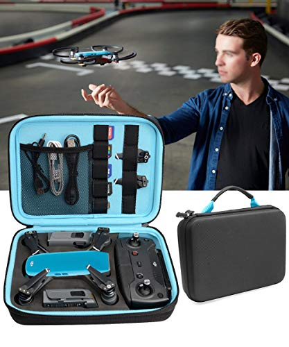 Upgraded Case for DJI Spark Portable Mini Quadcopter Drone, Slots for Charger adpter, 2 batteries and propellers, Pockets for USB, Cable, Micro SD Cards and Charger (Black + Blue 1/2' deeper)