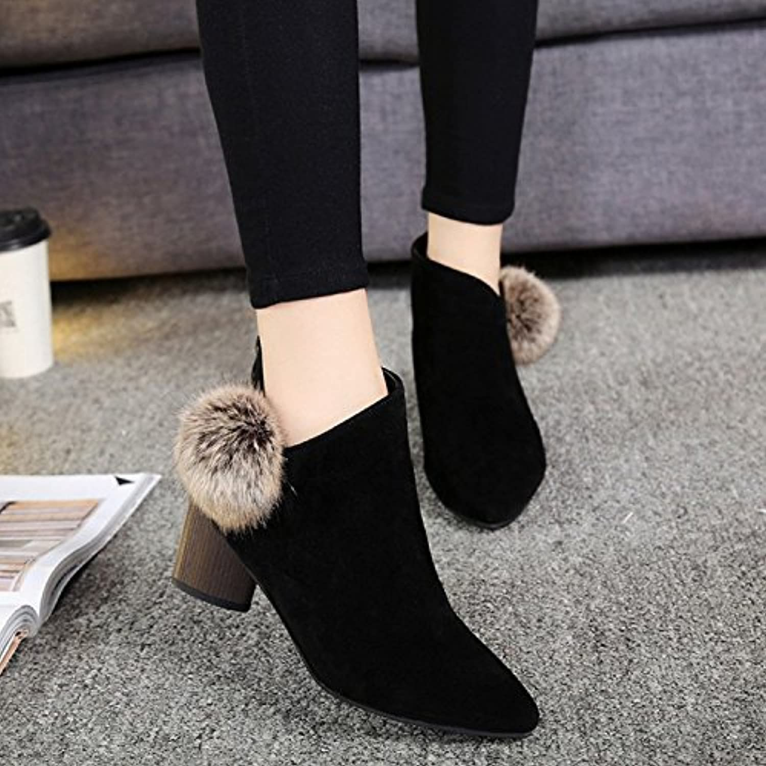 WYMBS Women's shoes Rough Short Boots Autumn Winter Pointed Puffer Ball Martin Boots High-Heeled Scrub Female Boots,Black,36
