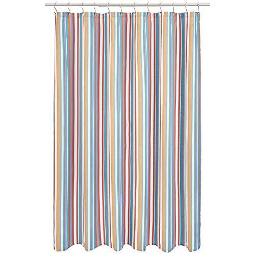 Amazon Basics - Duschvorhang, gestreift, Terrakotta/Blaugrün
