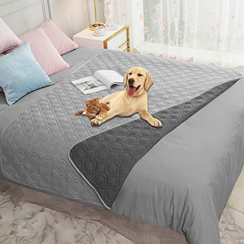 Ameritex Waterproof Dog Blanket for Bed Couch Sofa (52x82 Inches, Grey+Dark...