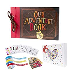 """Design with embossed letter and patterns cover: Compared to the other adventure book with print and plain cover, We optimized the cover with embossed letter and balloon patterns, which make the words """"Our Adventure Book"""" and the patterns surface more..."""