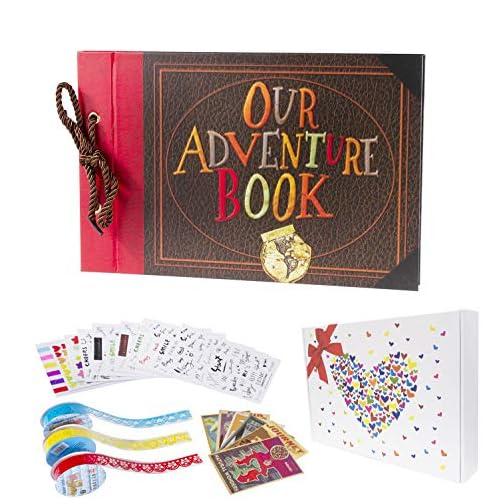 Pulaisen Our Adventure Book Scrapbook Pixar Up Handmade DIY Family Scrapbooking Album with Embossed Letter Cover Retro…  