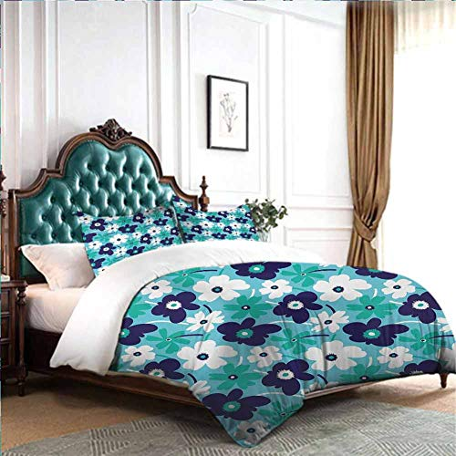Hiiiman 4-Piece Set for All Season Artistic Spring Flowers on Blue Backdrop Ditsy Style Nature Inspired Simplistic Blooms Twin Size W85 INCH x L85 INCH 1 Quilt Cover and 2 Pillow Sham