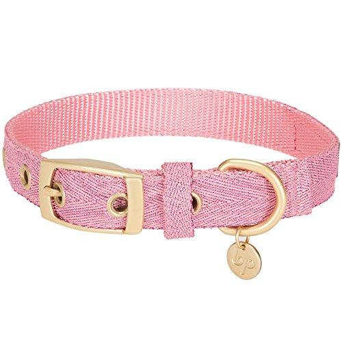 Blueberry Pet Das Begehrteste Designer Misch-Glanzfaden Hundehalsband in Leuchtend Lametta Rosa mit Metallschnalle, S, Hals 23cm-32cm, Verstellbare Halsbänder für Hunde
