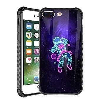 TEAUGHT iPhone 7 Plus case iPhone 8 Plus Case 5.5 Inch Astronaut Space Black Non-Slip Edge Slim Light Durable Shockproof Drop Protection Flexible Bumper Hybrid Cover for Boys Man  Neon