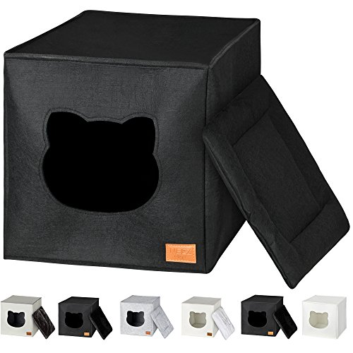 NEEZ Katzenhöhle für Regal in Weiß I Katze IKEA Regal kallax kletterwand katzenkorb (Basic Schwarz)