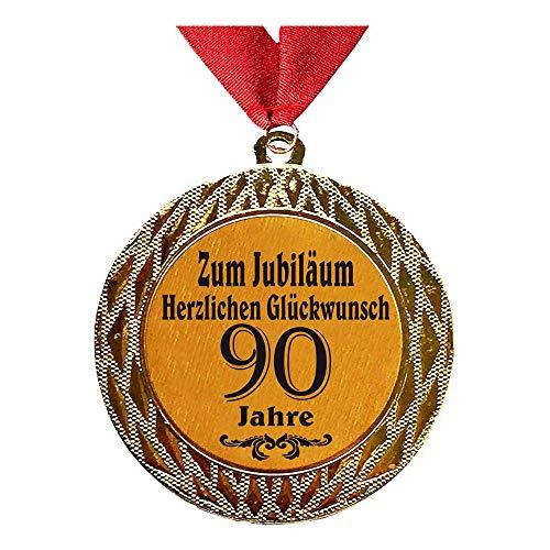 Larius Group Medaille Orden zum Jubiläum 90 Jahre Auszeichnung Ehrenorden zum Geburtstag Geschenk Jubilar Persönlichen Orden Wunschtext (mit Halsband)