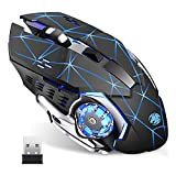 Q85 Rechargeable Wireless Gaming Mouse, 2.4G LED Optical Silent Wireless Computer Mouse with 4 LED Light, 3 Adjustable DPI, Ergonomic Design, Auto Sleeping (Starry Black)