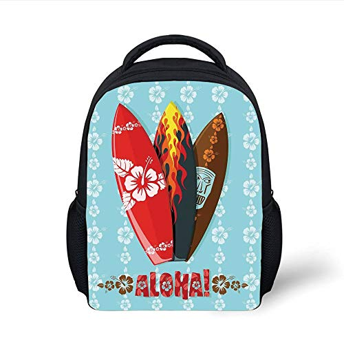 Kids School Backpack Surf,Illustration of Modern Aloha Surfboards with Hibiscus Tribal Mask Flame Extreme Sports,Multicolor Plain Bookbag Travel Daypack