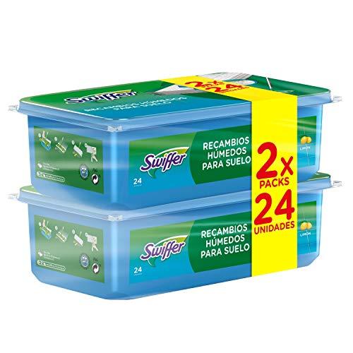 Swiffer Mopa, 48 Recambios Húmedos (2 x 24), Ideales para Suelos de Madera, Cerámica y Vinilo