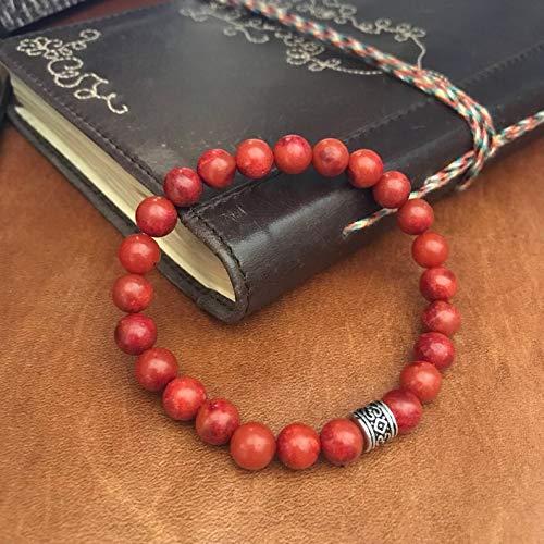 Coral rojo natural Forma redonda de 8 mm Pulsera elástica de 7 pulgadas con cuentas lisas para hombres / mujeres con cuentas de metal plateadas.