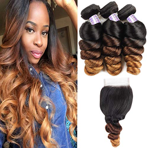 Allove Hair Brazilian Loose Wave Ombre Bundles With Closure (18 20 22+16inch) 3 Bundles with 4X4 Lace Closure Free Part Virgin Remy Hair 10a 3 Tone 1B/4/27 Ombre Weave Human Hair