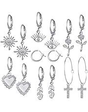 Orecchini da donna 7 paia Set di gioielli Set di orecchini a cerchio Orecchini a cerchio pendenti , Orecchini a cerchio per donna Ragazza