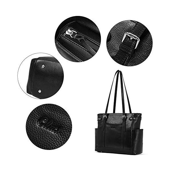 Laptop Totes for Women Genuine Leather Briefcase Large Ladies Shoulder Bag Work Handbags 15.6 Inch 5