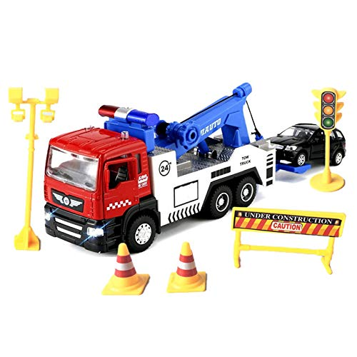 JOYINUS Toy Tow Truck Metal Diecast Truck with Car Pull Back Toy Trucks with Sound and Light for Boys(with 5 Pcs Traffic Signs)