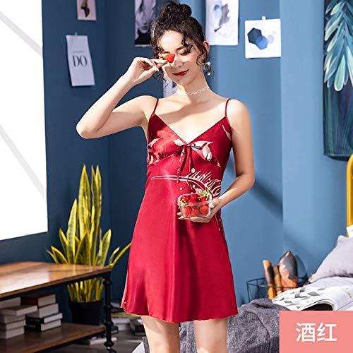 XMYNB Pijama de Encaje Bata de baño Pijamas de Mujer Vestido De Novia Damas Primavera Y Verano Largo Dama De Honor Rojo Albornoz De Novia Casero Moda Pijamas
