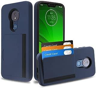 Bemz Pocket Series Compatible with Moto G7 Power, Moto G7 Supra Slim Wallet Dual Layer Hybrid Case with 3 Card Holder Hidden Storage Compartment and Atom Cloth - Dark Navy Blue