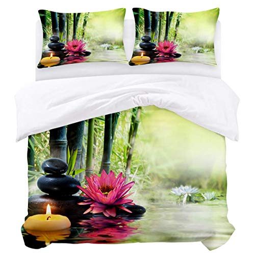 Duvet Cover Set,3 Pieces Ultra Soft Lightweight Microfiber Comforter Quilt Bedding Cover with Zipper Closure, Ties - Zen Spa Massage Treatment Safflower Water Lily Bamboo Black Stone Easy Care Anti-Al