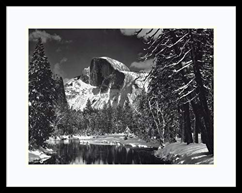 Framed Wall Art Print Half Dome, Winter - Yosemite National Park, 1938 by Ansel Adams 29.00 x 23.00 in.