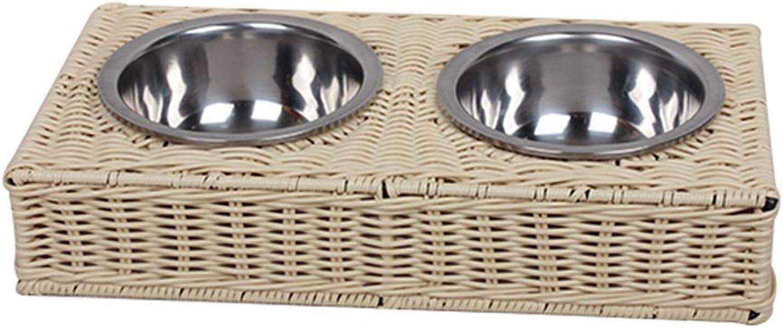 DSADDSD Pet Bowl Dog Cat Bowl Stainless Steel Double Bowl Rice Bowl Basin Pet Supplies (color   1 )
