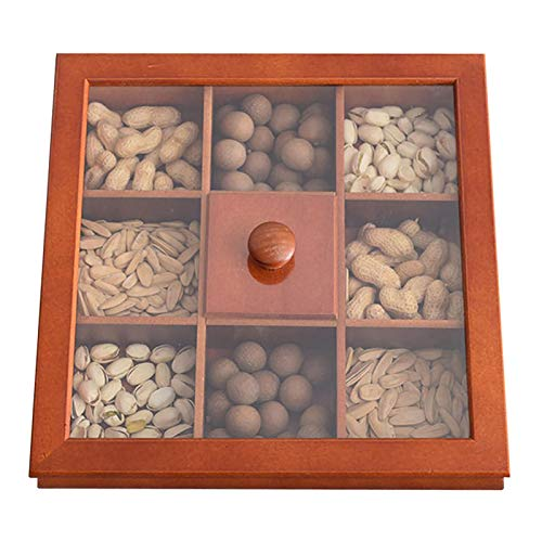 Wooden Dried Fruit Box,Multifunction Snack Storage Container Sectional Tray with Clear Window,Sectional Tray for Dry Fruits Nuts Snacks with Glass Lid,Humidity Proof Wooden Storage, 9 Grid