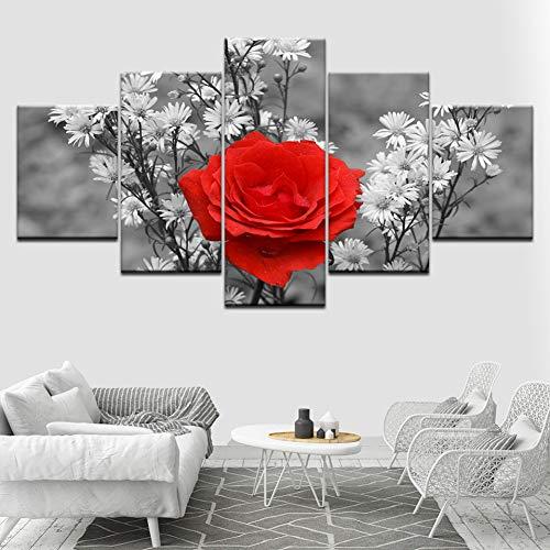 XGDDSS 5 aufeinanderfolgende Bilder 5 Stück rote Rose Gemälde Wandkunst Leinwand Bild Malerei Moderne modulare Wohnzimmer nach Hause dekorative Malerei Kunstwerk Plakat Dekoration Wand (Kein Rahmen)