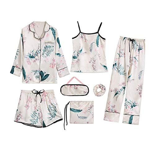Pijama de Mujer para Mujer 7 Piezas de Ropa de Dormir para Mujer Conjunto de Pijama de Ropa de Dormir Suave, Dulce y Lindo