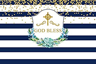 Leyiyi 7x5ft Baptism God Bless Backdrop Blue and White Striped Banner Watercolor Flowers Luxury Cross Glitter Spots Photography Background Kids Birthday Baby Shower Photo Studio Prop Vinyl Wallpaper