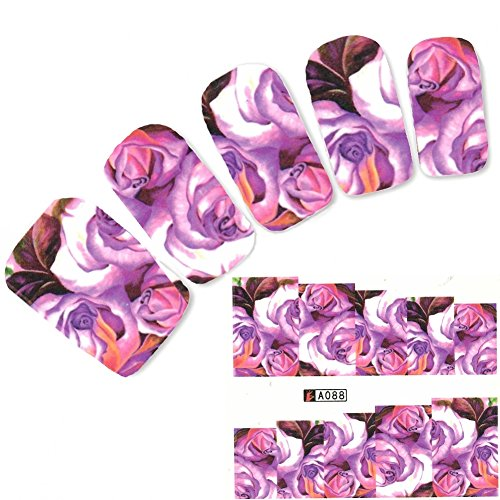 JUSTFOX - tattoo nail bloemen rozen bladeren sticker nagel sticker nagels voet water Decal
