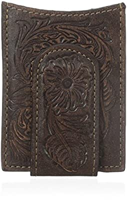 Ariat Men's Floral Money Clip, Brown, One Size