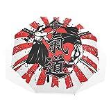 LASINSU Paraguas Resistente a la Intemperie,protección UV,Fondo Jeroglífico Samurai Cruzado Dos Ronin Aikido Estilo Lucha Oriental