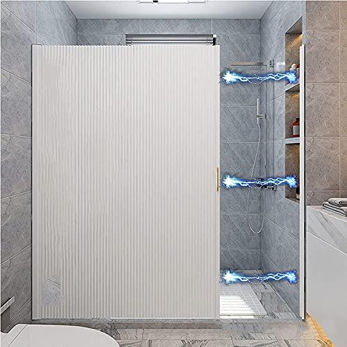 USMEI Duschtrennwand, versenkbare duschvorhang, magnetische unsichtbare undurchsichtige Duschfalttür, Textil Bad Vorhang aus Polyester, Wasser, Anti-schimmel, Umweltfreundlich