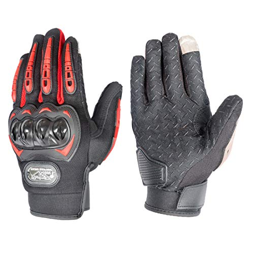 Guantes de moto con pantalla táctil para hombre y mujer, guantes de carreras para motocross, BMX, ATV, MTB, carreras de carretera, ciclismo, escalada, motocross, etc. (rojo, L)