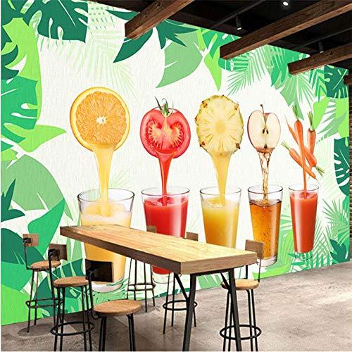 WGBHQ 3D Mural Verwijderbare Zelfklevende Behang-Wanddecoratie - Groene Groentesap Sap Winkel Restaurant Familie Woonkamer Slaapkamer Kantoor Kinderen Kamer Decoratie Behang (W)350x(H)256cm