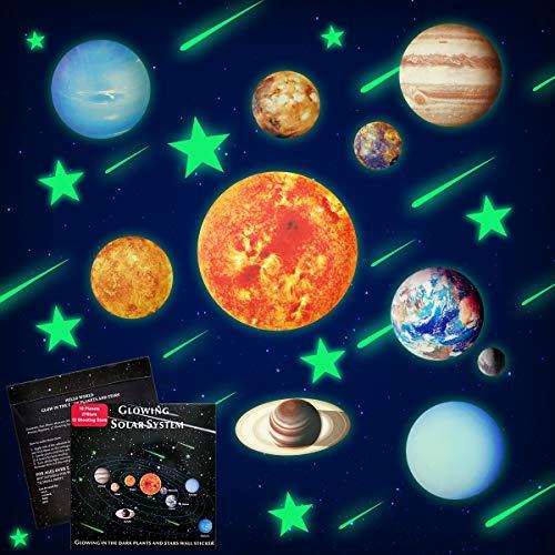 10-Planeten Wandsticker Leuchtaufkleber Leuchtsticker Sonne Erde fluoreszierend Wandaufkleber Hausdekorationmit 12tlg Meteor und Buchstabesticker für Kinderzimmer Wohnzimmer