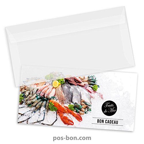50 Bons cadeaux + 50 enveloppes pour poissonneries, fruits de mer FK9201F