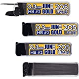 June Gold 820 Pieces, 0.3 mm HB #2 Lead Refills, 205 Pieces Per Tube, Extra Fine Thickness, Break Resistant Lead/Graphite (Pack of 4 Dispensers)