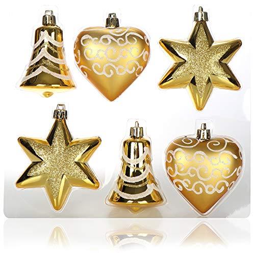 com-four Set 6 Pezzi addobbi per L'Albero di Natale - Palline per Albero di Natale di Diverse Forme - Campana, Cuore e Stella da Appendere all'albero di Natale (Color Oro)